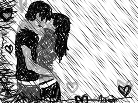 romantic couple kissing in the rain. What does romantic mean to you